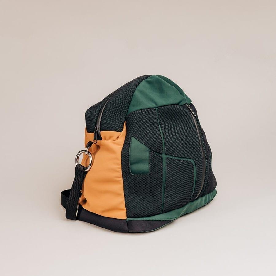 Honey Bag Bee&Smart Besace Chelsea - Sac pliable en Néoprène Vert et Camel